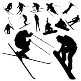 Fototapety ski and snowboarding people silhouette