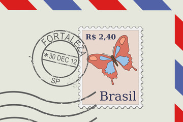 Letter from Brazil - post stamp, Fortaleza postmark