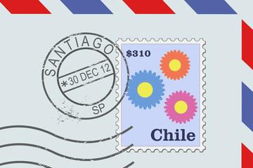 Santiago de Chile - postmark on a letter