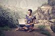 Fototapeten,afrika,cyberspace,laptop,frau