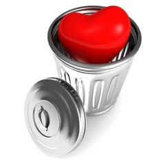 red shiny love heart in metal trash bin can