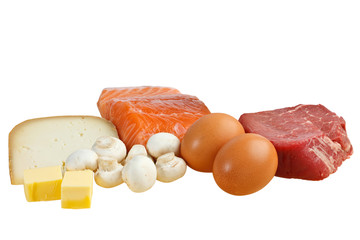 Food sources of vitamin D, including fish, meat, eggs, dairy and