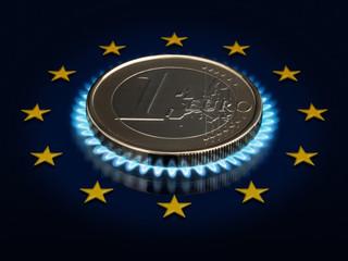 Coin one EURO and an European Union flag.