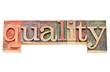 quality word in letterpress type