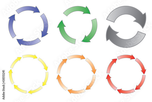 set of cycling arrows vector illustration
