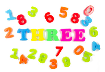 number three surrounded by other numbers