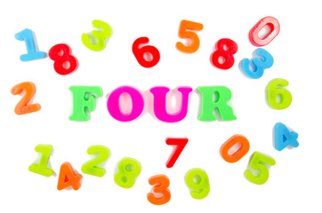 number four surrounded by other numbers