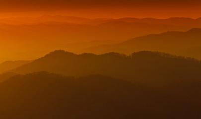 Warm sunset in Appalachian mountains
