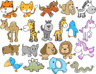 Cute Animal Safari Wildlife Vector Set