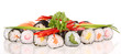Sushi pieces on white background