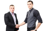 Business professionals shaking hands over a deal on white poster