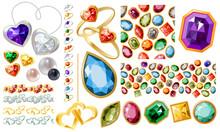 Ensemble de bijoux avec des pierres précieuses, Big perls, de l'or, de l'argent et des bagues