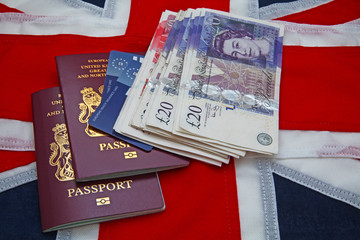 union jack flag  passport money health cards