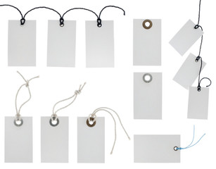 Collection of various tags isolated on white background