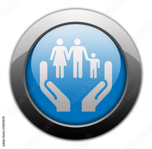 "Metallic Orb Button ""Social Services"""