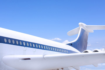 close up of windows and tail fin of a big airbus airplane