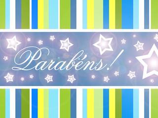 Cartão de aniversário com texto, estrelas e luzes