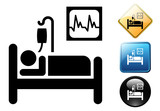 Hospital room pictogram and signs