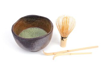 Bamboo spoons and green tea