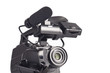 Professional video camera on a white background
