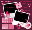 Set for the newborn girl. Album Page for scrapbookig