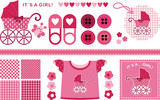 A set of vector images for the newborn girl