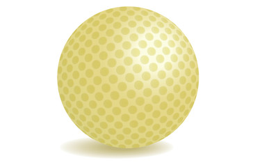 vip golden golf ball with shadow vector illustration