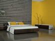 Wohndesign - gelbes Schlafzimmer