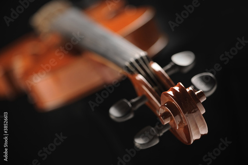 close up shot of a violin, shallow deep of field