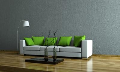 Wohndesign - Sofa mit grünen Kissen