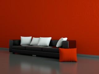 Wohndesign - schwarzes Ledersofa