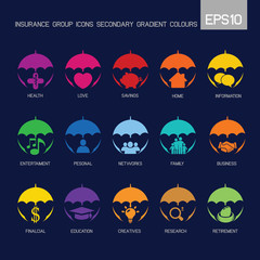 Insurance group icons secondary colourful