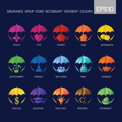 Umbrella - Insurance group icons secondary gradient colourful