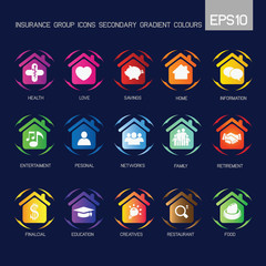 Home - Insurance group icons secondary gradient colourful