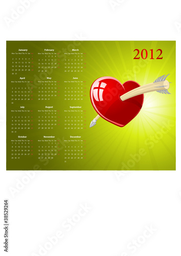 Vector European calendar for Valentines Day