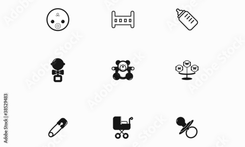 A set of black and white children's icons.