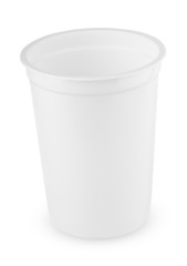 White plastic cup isolated on white