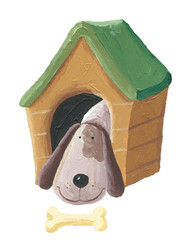 Cute dog in the doghouse
