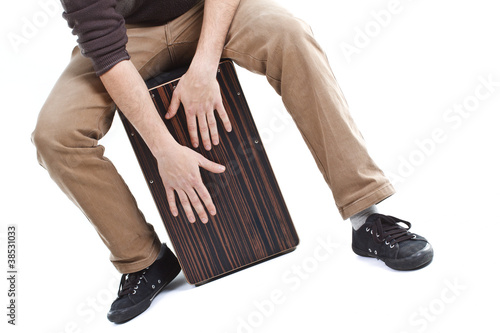 Man playing the cajon