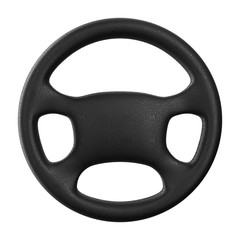 Steering wheel on white background. Isolated 3D image