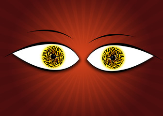 Eyes on red background with rays