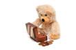 Teddybär mit Schatztruhe
