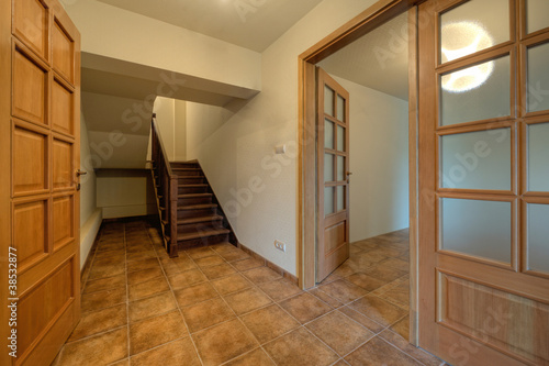 Wood doors and stairs in new home