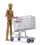 The wooden man rolls the cart. 3D rendering