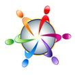 Teamwork people on earth logo