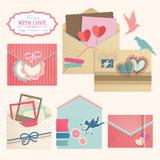 Valentine`s Day vintage envelops.