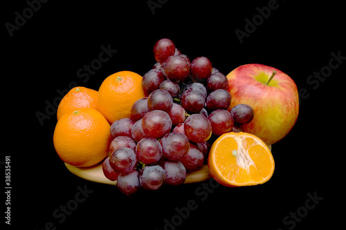 fruit on a black background