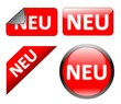Neu - Kollektion mit Button, Schild, Sticker
