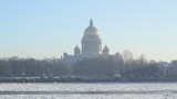 St Petersburg, St Isaac Cathedral and Neva river in winter poster