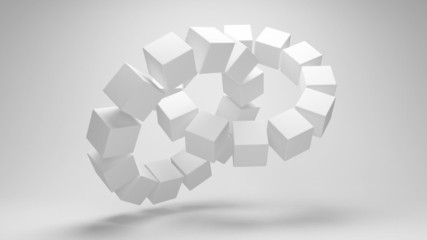 Abstract wheel of the cubes rotation. Seamless loop.
